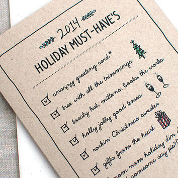 Funny Christmas Card, Couples, Family - 2014 Holiday Must Haves - Unique Christmas Card, Illustrated Holiday Card