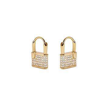 18K Yellow Gold Modern Lock Huggy Earrings