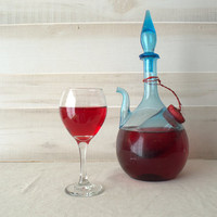 Rare Empoli Glass Decanter with Ice Chamber, Blue Wine Decanter, Wine Decanter with Ice Chamber