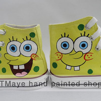 Spongebob cartoon Shoes hand painted shoes painted on local brand only 49.99USD painted on Converse Shoes Only 86USD