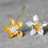 Gold Plated Lotus Earrings, Sterling Silver Lotus Dangle Earrings, Lotus Flower Earrings, Silver Flower Earrings, Lotus Jewelry gift for her