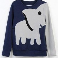Elephant Pattern Hoody Tee Sweater