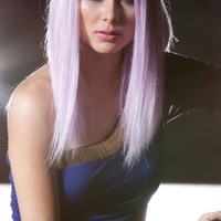 Light Purple Medium Length Straight Wig