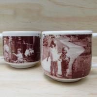 Personalized Tea or Coffee Mugs. Set of two mugs with two of your own pictures in sepia tone. Spring green inside. Personalized gift.