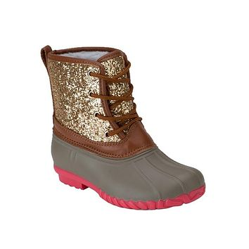Fall GOLD GLITTER LACE UP TONE TONE KIDS DUCK BOOT