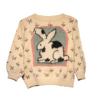 Vintage Bunny Rabbit Sweater - Womens Petite Large Wool Sweater