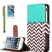 KINGCO Wave Pattern Design PU Leather Wallet Case Cover with Card Holder for Apple iPhone 5/5S with Free Screen Protector+Stylus Hard Cases Covers