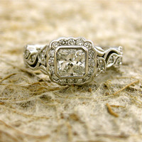 Custom Made 0.57ct Radiant Cut Diamond Leaf Vine Engagement Ring in 14K White Gold with Milgrain Detailing Size 6.75