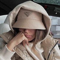 PRADA Letter embroidered pattern letters Bucket hat Cap