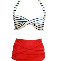 Halter Striped Knot High Waist Bikini