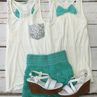 Sequin Bow Back Tank: Mint