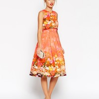 ASOS Crop Top Prom Dress In Faded Floral