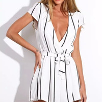 Stripe V-Neck Cap-Sleeve Tie-Waist Pleated Romper