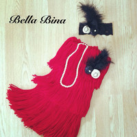 Vintage Black and Red Flapper Dress with Pearlsand Headpiece