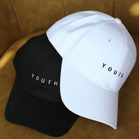 """YOUTH"" Summer Gift Retro Embroidery Baseball Cap Unique Casual Hat a12478"