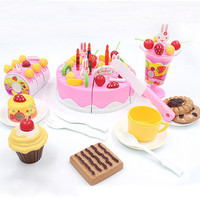 2017 Hot Sale Children Kitchen Toys 75Pcs/Set Plastic Cutting Birthday Cake Pretend Play Food Toy For Kids