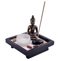 Zen Buddha Tealight Candle and Rock Incense Holder Plus FREE Incense