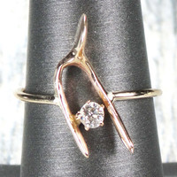 Vintage 14k Gold Wishbone Ring Old Mine Cut Diamond Ring Stickpin Conversion Stickpin Ring Yellow Gold Ring Good Luck Fortune Victorian