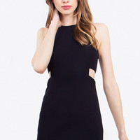 Sleeveless High Neck Side Cut Outs Knit Bodycon Dress - Black