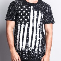 American Flag Paint Splatter Long Length Curved Hem T-Shirt