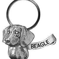 Precious Breeds Lg. Antique Pewter Beagle Key Chain