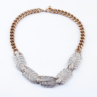 Striking Feather Statement Necklace Allover Glass Stones