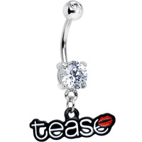 Double Clear Gem Tease Kiss Dangle Belly Ring   Body Candy Body Jewelry