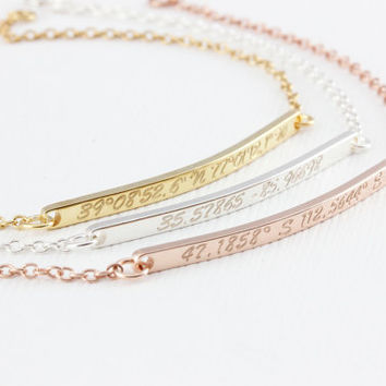 Dainty Coordinate bracelet, Bridesmaid Gift, Engraved Jewelry, personalized Jewelry,name bracelet,nameplate bracelet,bar bracelet,thin bar