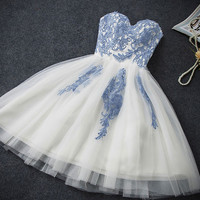 2016 Mini Short Homecoming Gown Dress Blue Flowers Embroidery Tutu Tube Bridesmaid Bandage Dress
