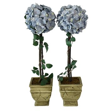 Vintage Silk Hydrangea Topiary Planters Periwinkle Blue French Country Decor