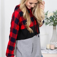 Red Checkered Hoody Pullover