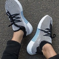 Adidas Deerupt Running Shoes Runner Trifolium Mesh Sneakers   White Surface With Blue/white Soles