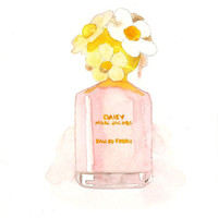 Marc Jacobs Daisy Eau so Fresh Fragrance - Watercolor Perfume bottle illustration