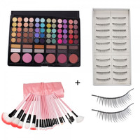 78 Color Eyeshadow Palette + 22PCS Cosmetic Makeup Brush Set Pink + 10 Pairs Thick Long False Eyelashe