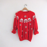 vintage ugly teddy bear Christmas sweatshirt  // tacky christmas sweater // holiday party sweater in red