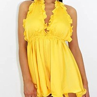 felainse19 new sexy fashion dress with deep V-neck halter neck tether and open back with wooden ears