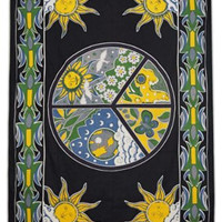 Sun Tapestry Black Wall Hanging Table Runner Decorative Bedspread Cover Gift