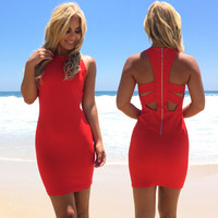 Bringing It Back Bodycon Dress In Red