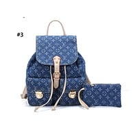LV hot selling fashionable lady denim printed casual shopping bag backpack #3