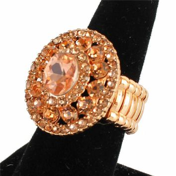 """1.05"""" rose gold crystal round stretch cocktail ring"""