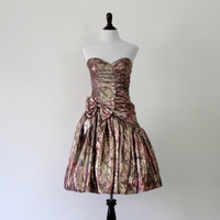 Gunne Sax Pink and Gold Strapless Party Dress, Vintage 1980s, Jessica McClintock Prom Dress, Lamé Formal Full Skirt Dress, Size XS / Small