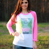Luckybird Clothing Always Take the Scenic Route Shirt with Vintage Pink Car Art
