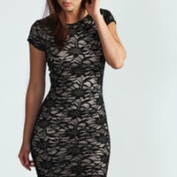 Cheryl Sequin Knot Back Lace Bodycon Dress