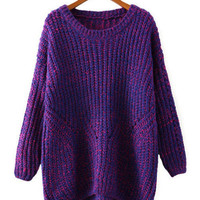Long Sleeve Knitted Asymmetric Sweater