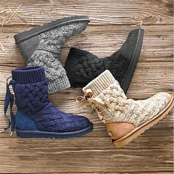 """""""UGG"""" female fashion wool snow boots wool shoes (4-Color)"""