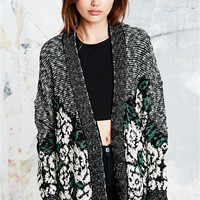 Pins & Needles Rose Slubby Cardigan in Black and White - Urban Outfitters