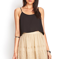 FOREVER 21 Embroidered A-Line Skirt Taupe