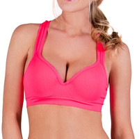 Solid Color Underwire Push Up Sports Bra
