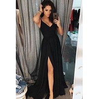 Black Prom Dress with Slit, Prom Dresses, Evening Gown,Graduation School Party Gown, Winter Formal Dress, DT0037