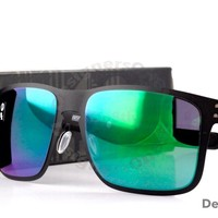 New Authentic OAKLEY Holbrook Metal Sunglasses OO4123-04 Matte Black & Jade